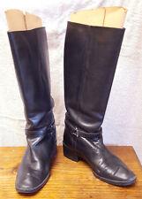 "Amanda Smith Boots-494 Bridle-Womans 8.5 M-Black-Leather-1.5"" Heel-w Box-Knee Hi"