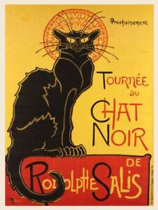 Retro Shabby Chic chat noir poster Metal Sign decorative tin wall door plaque a5