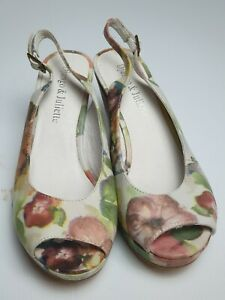 "Django & Juliette Size 38 Floral peep toeslingback shoe Heel ""Partingo"" euc"