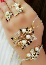 American Diamond Gold Crystal Pearl Necklace Bracelet Ring Earring Lady Dress