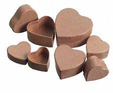 Darice Paper Mache Miniature Small Decoupage Box Set - Heart - 2pks/12pc.