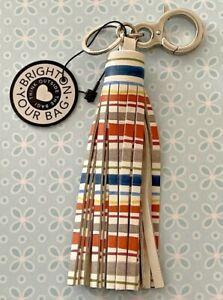 Brighton NAPA STRIPE Boho Tassel Silver Keychain Key Fob Purse Charm NWT