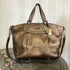 COACH 14334 Madison Claire Bronze Pebbled Leather Carryall Tote Shoulder Bag