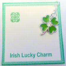 Lucky Irish Shamrock Charm on Gift Card in Bag Four Leaf Clover Good Luck charm