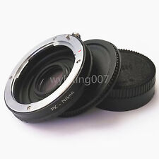 Pentax K PK Lens to Nikon F Camera Adapter Ring Infinity focus w/ Optical Glass
