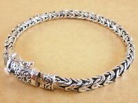 "Handmade Byzantine Bali Borobudur 925 Sterling Silver Bracelet Chain 7.75"" 29g"