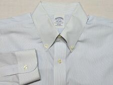 Brooks Brothers Long Sleeve NON IRON Dress Shirt Blue Striped 16 35 Slim Fit