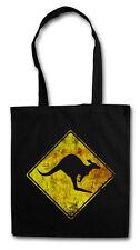 KANGAROO ROAD SIGN HIPSTER BAG - Stofftasche Stoffbeutel - Australia Känguru NEW