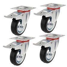 4 Stück 125mm Lenkrollen mit Bremse Transportrollen Schwerlastrollen 300 KG/Set
