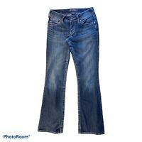 Silver SUKI Jeans Womens Size 27X32  Blue Thick Stitch Distressed Bootcut