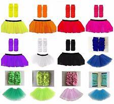 Neon TUTU Skirt Leg Warmers 1980s Disco UV Fancy Dress Party Costume Hen Party