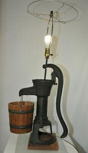 Antique W & B Douglas Cast Iron Water Well Pitcher Pump Table Lamp Conversion
