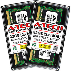 A-Tech 32GB 2x 16GB PC4-17000 Laptop SODIMM DDR4 2133MHz 2Rx8 Memory RAM 16G 32G