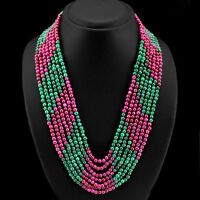 BEST AMAZING 588.00 CTS EARTH MINED 7 LINE RUBY & GREEN EMERALD BEADS NECKLACE