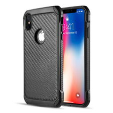 "For iPhone XS MAX (6.5"") - Carbon Fiber Case Cover Hard Hybrid Shockproof Armor"