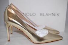 MANOLO BLAHNIK Gold Patent BB 90mm Pointed Toe Pump Heel Shoes 8.5 US / 38.5 EU