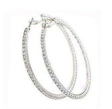 Costume Jewellery Silver Crystal Rhinestone Hoop Earrings Medium Hoops E152