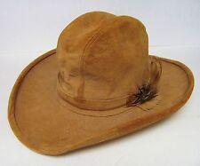 HENSCHEL SKULLYS TAN SUEDE COWBOY WESTERN Leather Hat W/FEATHER BAND VINTAGE