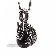 """Men's Dragon Black Onyx Ball Stainless Steel Pendant with 21"""" Chain Necklace"""