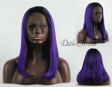 Fashion Charming Women Medium Purple Ombre Lace Front Straight Hair Full Wigs