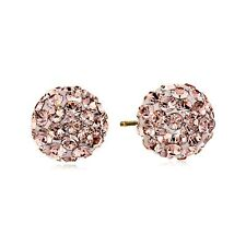 Crystaluxe Rose Ball Stud Earrings with Swarovski Crystals in 14K Gold