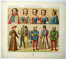 VINTAGE 1800's Color Costume Plate, Fashions of Europe, Middle Ages, 021