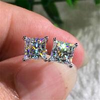 Fashion Princess White Sapphire Square Stud Earring High Quality 925 Silver Gift