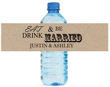 Kraft paper Eat Drink Be Married Wedding Engagement Party Water Bottle Labels
