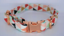 Luxury Dog Puppy Collar Adjustable Rose Gold Bow Geometric - X Small