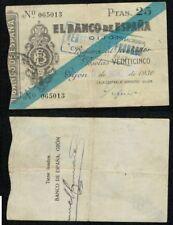 Gijón 25 Pesetas 1936. Caja Central de Depósitos. Nº 065013. BONITO.