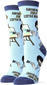 Oooh Geez! Socks Women's Crew Socks, Bob Ross Little Squirrel, Blue (OSFM)