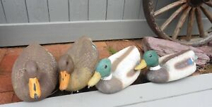 Lot of 4 Decoy Duck Drake Mallards Hen Plastic Hunting Pond Lake Cabin Decor