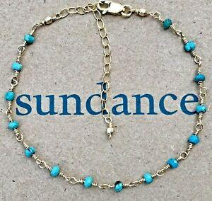 "NEW Sundance 6-1/4-8"" Turquoise 12k Gold GF Beaded Chain Bracelet NWT"