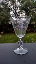 Crystal TIFFIN Spring Beauty Stem #D-5 Floral Cut Bowl, Scroll Stem Water Goblet