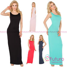 Womens Summer Evening Maxi Dress Scoop Neck Sleeveless Bodycon Sizes 8-14 8206