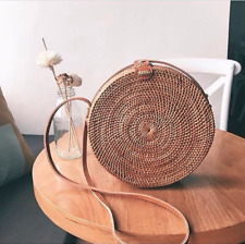 Handwoven Bali Round Rattan Beach Bag with Button Clip