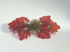 Vintage Translucent Red Gold Floral Flower Hair Barrette Marked Made In Korea