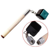 Newest 2in1 Pocket Chalk Holder Prep Stick Billiard Snooker Pool Cue Tip-Pric HC