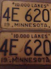 2 A Set Pair 1958 Minnesota Tin Embossed License Plate 10,000 Lakes Blue / White