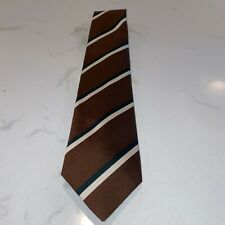 Drake's Brown, White & Black Stripe Classic Repp Silk Tie New With Tags
