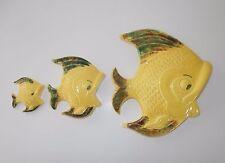 Vintage Wall Pocket Fish Family 3 Big Open Mouth Yellow Ceramic Tropic Decor