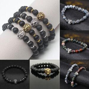 Men's Black Lava Stone Gold&Silver Lion Beaded Cuff Charm Bangle Bracelet New