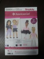 "New Simplicity Sewing Pattern 8864 OS American Girl 18"" Doll Clothes 4 outfits"