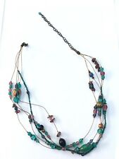 Multicolour 3 Strand Glass & Foiled Beaded Wire Choker Unisex Necklace