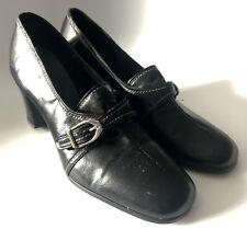 Charm Step Vintage 7 Med Solid Black Heels Pumps 60's 70's Mod Dead Stock Maria