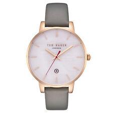 Ted Baker London Damen Leder Armbanduhr Datum Perlmut Rosè Grau TE50310001