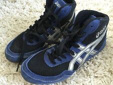 Asics High Top Youth Boys Sz Laces School Shoes Sneaker Blue Black