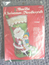 NIP VINTAGE BUCILLA CHRISTMAS JEWELED CHRISTMAS STOCKING KITS-----ON SANTA'S LAP