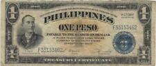 One Peso Treasury Certificate Philippines Victory Series No. 66 from 1940's