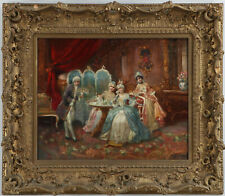Antique Painting, Oil on Board,  Salon Scene, French School, 18th/19th Century!!